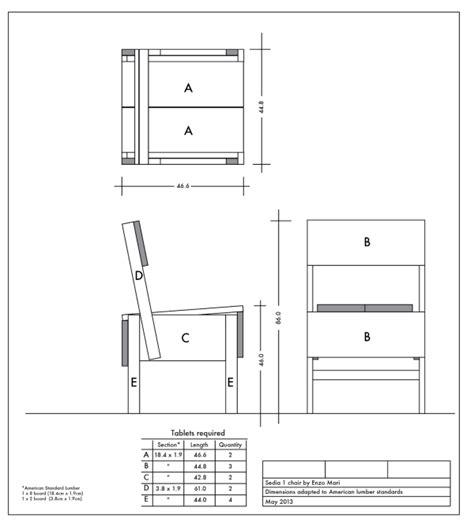 enzo mari sedia adapting enzo mari sedia 1 chair to american lumber standards