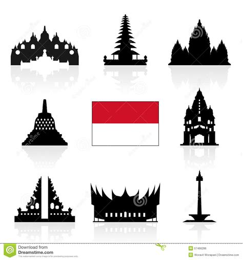 indonesia travel icons stock vector image