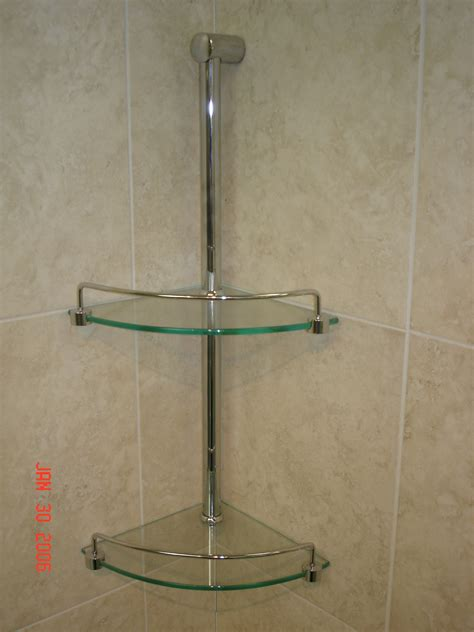 double corner glass shower shelves on beige ceramics tile wall of adorable corner glass shower