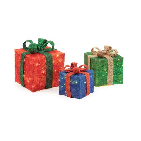set of 3 lit gift boxes home accents pre lit gift boxes yard decor set of 3 ty187 1218 1 the home depot