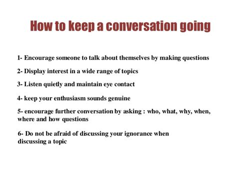 how to how to keep a conversation going
