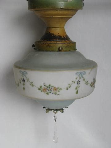 Antique Ceiling Light Fixtures Antique Ceiling Fixture Light W Handpainted Glass Shade Vintage Cottage Lighting