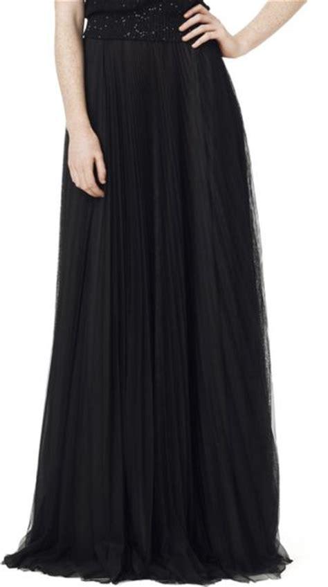 Black Floor Length Skirt by Oscar De La Renta Floor Length Plisse Skirt In Black Lyst