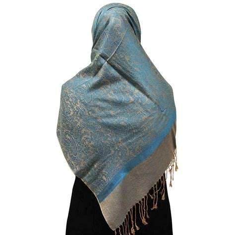 Muslim Scarf Light Blue warm gray muslims s headscarf with sea blue