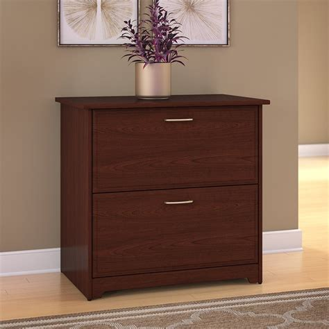 bush cabot 2 drawer lateral file cabinet in harvest cherry