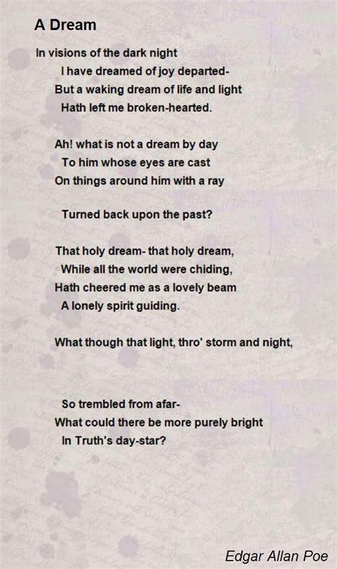 edgar allan poe poems bio a dream poem by edgar allan poe poem hunter