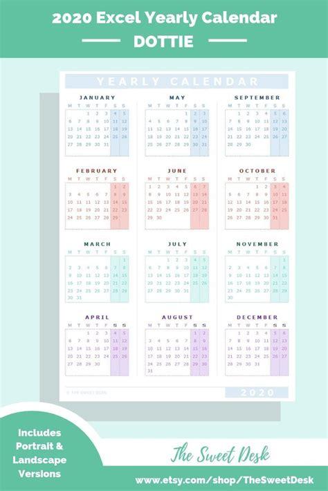editable  excel yearly calendar template printable modern annual wall calendar monday