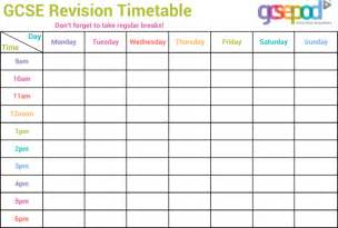 free gcse revision timetable template for pdf