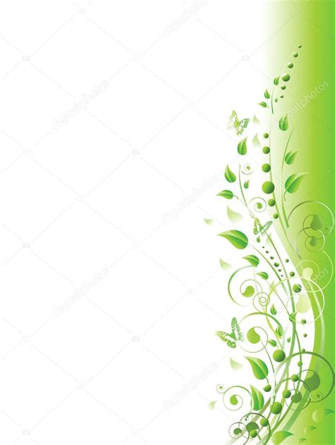 Wallpaper Border Motif Bunga Hijau 5 Mtr floral in green stock vector 169 s razvodovskij 2367631