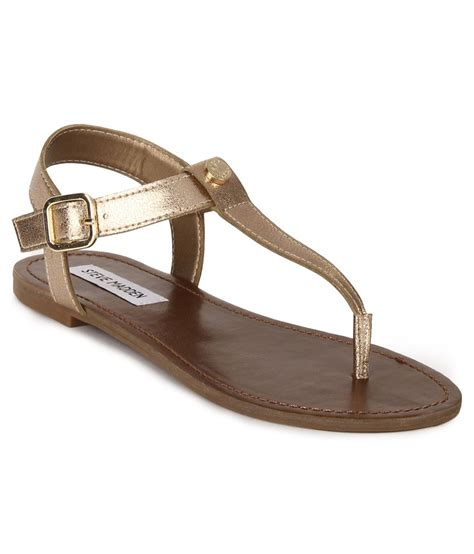 best offers on sandals steve madden hiwayy gold flat sandals snapdeal price
