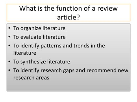 Writing Review Articles by How To Write A Review Article