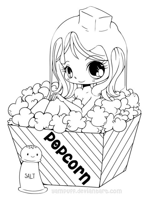 chibi food coloring pages popcorn girl lineart by yampuff on deviantart