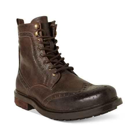 wing tip boots steve madden madden shoes mofit wingtip boots in brown for