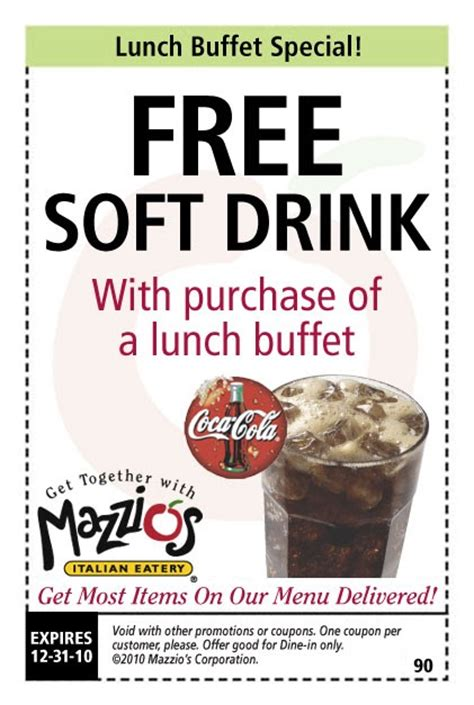 Mazzios Coupons Mazzios Lunch Buffet Free Drink Coupons For Pizza Hut Buffet