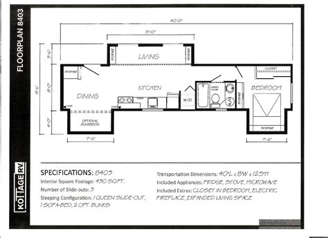 park model trailer floor plans park rv model 8403 430 sq ft rv park model cottages