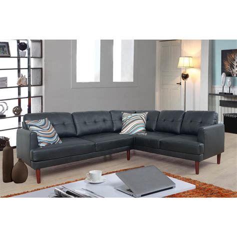 Faux Leather Sectional Sofa by Black Faux Leather Sectional Sofa Set 2 Sh5001a