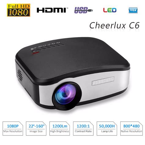 Lu Tidur Led Projector cheerlux c6 mini led lcd projector 800x480 pixels 1200
