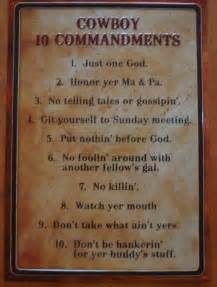 cowboy ten commandments old west primitive country western