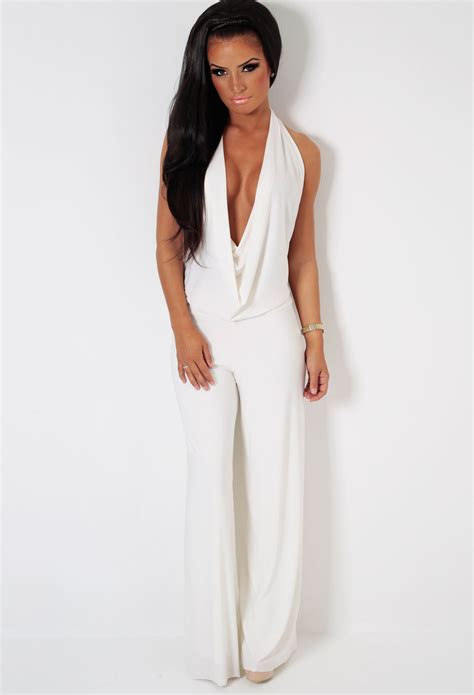 Omnia White Slinky Stretch Cowl Neck BacklessJumpsuit