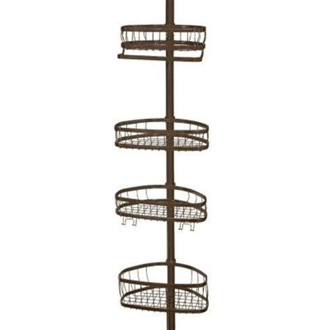 Shower Poles by Interdesign York Tension Pole Shower Caddy In Bronze 42671 The Home Depot