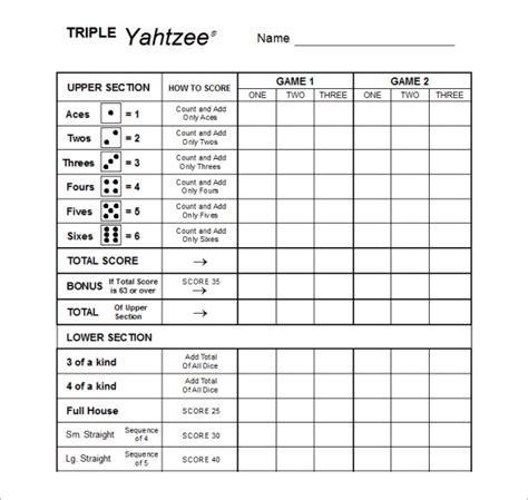print a yahtzee score sheet best photos of print triple yahtzee scorecards free