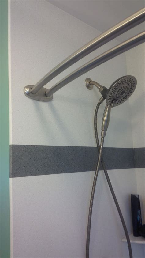 surround shower curtain rod corian wall surround with custom color strip inset