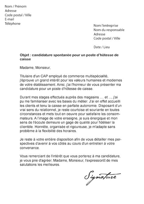 Exemple De Lettre De Motivation Caissière Modele Lettre De Motivation Stage Hotesse De Caisse Document