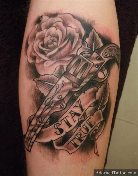 guns and roses thigh tattoo gun roses designs pin gun picture