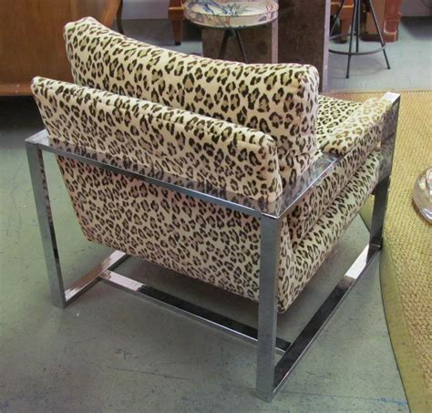 leopard print chaise lounge chair a 1970 s milo baughman leopard print and chrome lounge