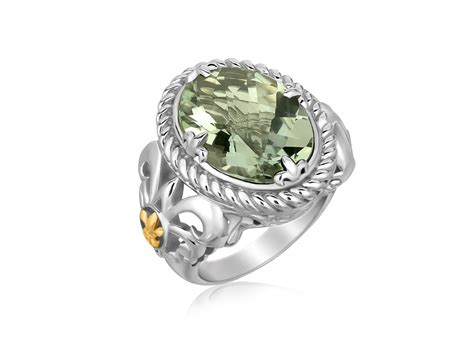 oval green amethyst ring 18k yellow gold and sterling