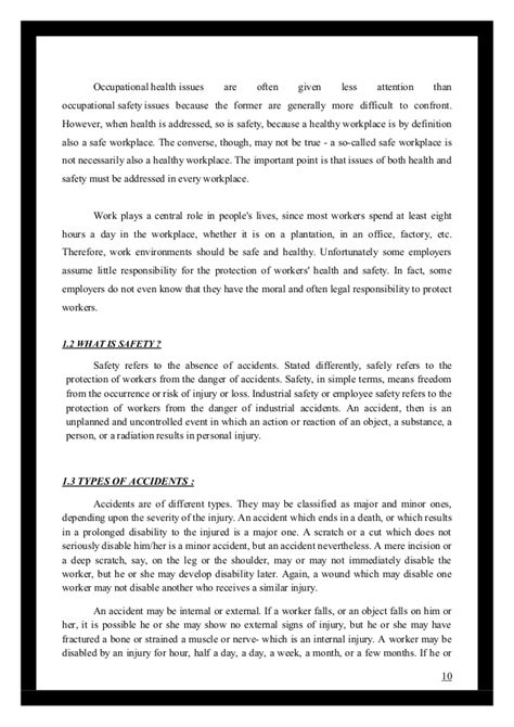 Mba Project Report On Health And Safety by Project Report On Health Safety