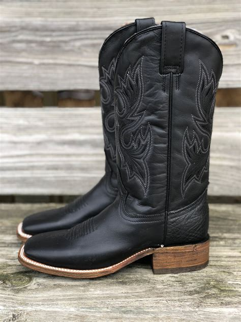Black Square Toe Western Boots for Women