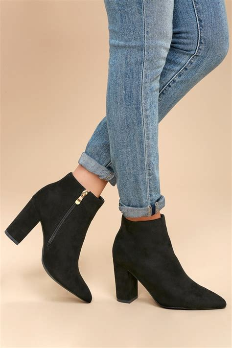 Black Suede Heel Booties