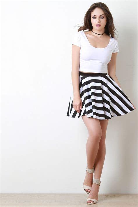 Black White Stripe Tops for Pencil Skirt