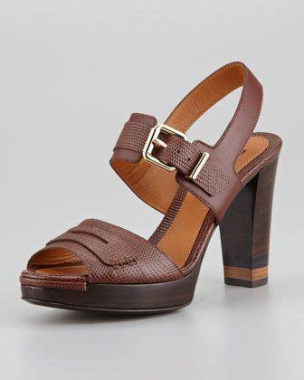 Fendi Black Lizard Penny Sandal