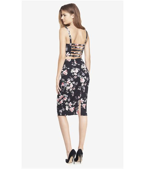 Floral High-Waisted Pencil Skirt