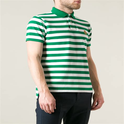 Green Boys Striped Polo Shirts