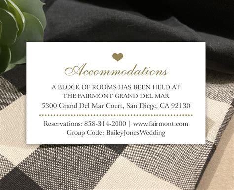 Hotel Accommodations for Wedding Invitations
