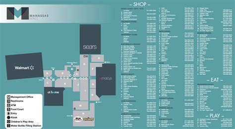 Map of Manassas Mall Stores