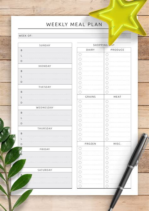 Galerry printable meal planner template free Page 2