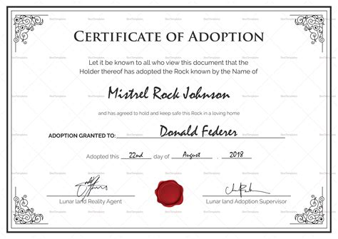 Official Adoption Certificate