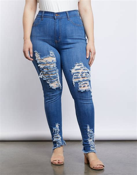 Plus Size Ripped Jeans
