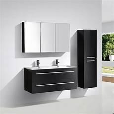 armoire de toilette bloc miroir siena largeur 120 cm noir