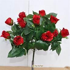 bouquet fiori artificiali rosse in tessuto di
