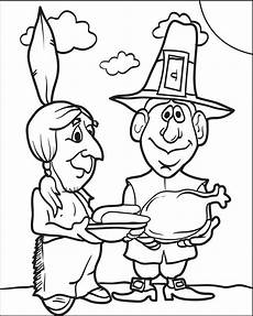 free printable pilgrim and indian coloring page for