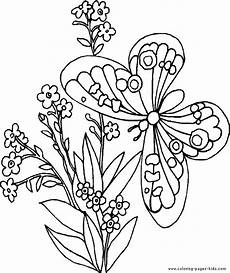 Ausmalbilder Blumen A4 Butterfly With Flowers Free Printable Coloring Sheets For