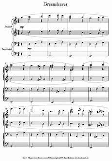 greensleeves sheet music for piano duet partituras
