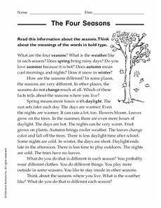 seasons worksheets for grade 4 14737 the four seasons worksheet for 2nd 4th grade lesson planet