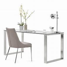 Bureau Droit Table Design Et Contemporain Ingrid En Verre