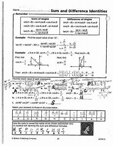 math classes spring 2012 trig worksheets answer